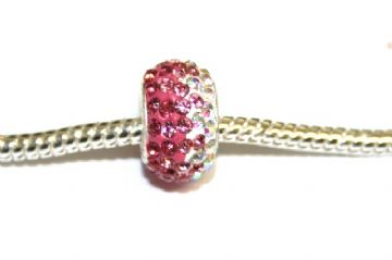 1pce x Fuchsia pink - baby pink - clear 12mm x 8mm Pave Crystal Beads with 5mm hole PS-S-12- 032